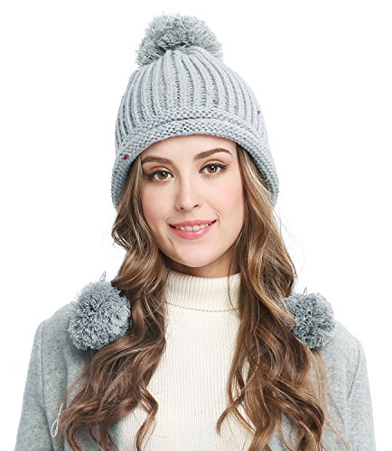 Bellady Women Winter Crochet Knit Ski Warm Beanie Pom Ball Hat,Gray