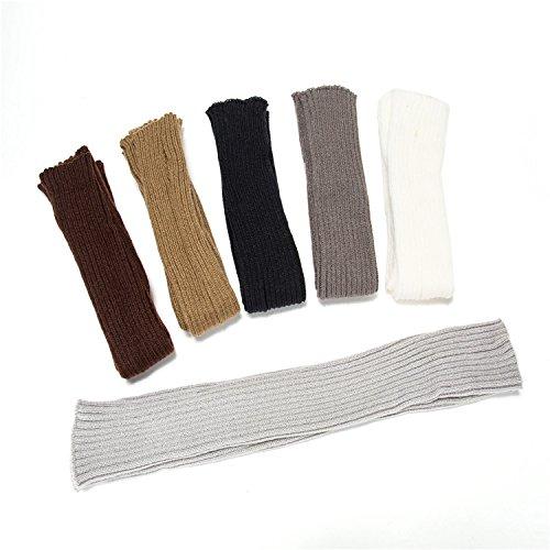 Docharn Super Long Arm Warmers Knit Fingerless Gloves Mittens Thumb Holes for Women (Black)