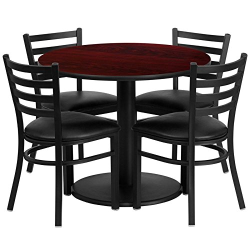 Dyersburg 5pcs Table Set Round 36'' Mahogany Laminate, Black Vinyl Chair by iHome Studio