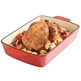 VonShef Cast Iron Cooking, Oven To Table Dish, Roasting Tray, Cookware, Pan, Red