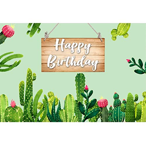Yeele 5x3ft Cactus Photography Background Birthday Party Decoration Child Princess Tropical Jungle Wooden Board Happy Birthday Photo Backdrop Portrait Shooting Studio Props Wallpaper -