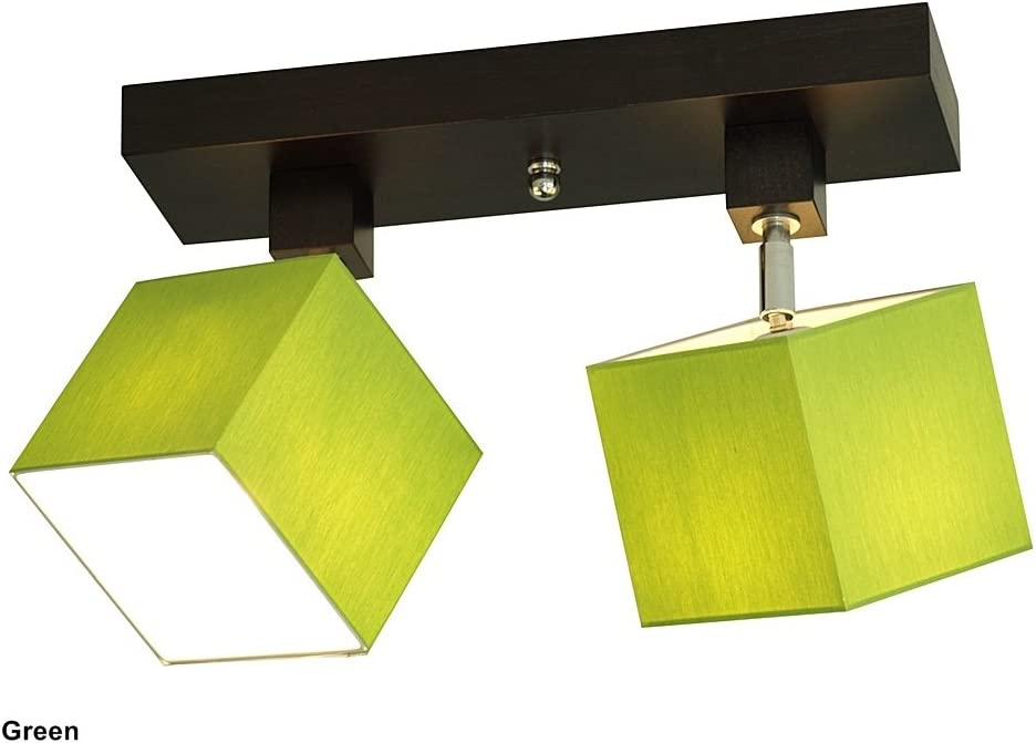 Deckenlampe - Wero Design Vigo-006 B Green - Deckenleuchte, Leuchte, Lampenschirme, 2-flammig, Holz, Stoff, Chrom Green