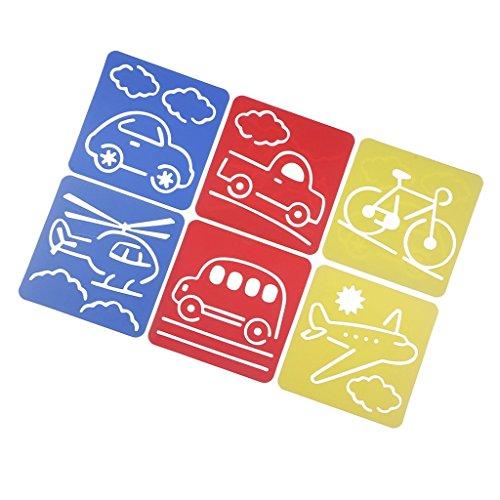 Baosity 絵画ステンシル 車両形状 両親と子供の交流 知育おもちゃ 描画ルーラー 描画テンプレート 6個セット