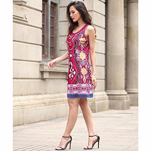 Mini vestido de las mujeres - vestido sin mangas atractivo de la impresión del tribal Rojo