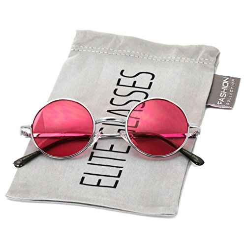 John Lennon Hipster Fashion Sunglasses Small Metal Round Circle Elton Style (Pink, - Lennon Pink John Glasses