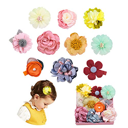10PCS Fully Lined Flower Hair Bows Baby Hair Clips for Babies Girls Fine Hair Infants Toddlers