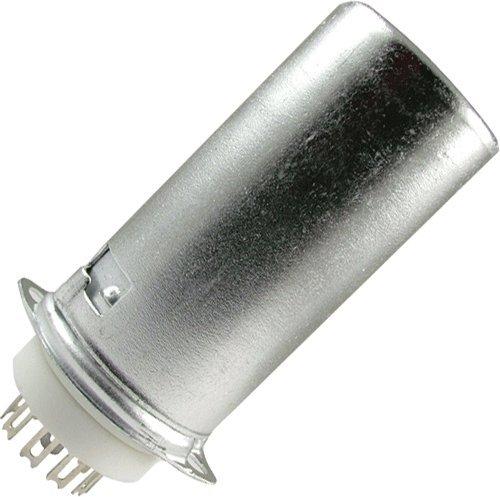 Vacuum Tube Socket, 9 Pin/Miniature, Ceramic, Top Chassis Mount, w/Aluminum Tube Shield