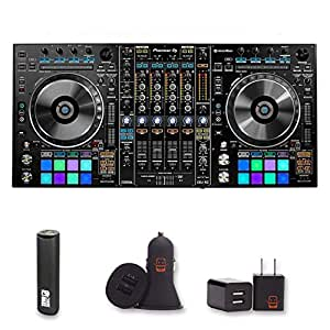 Pioneer DJ DDJ-RZ Flagship Professional 4-channel Controller for rekordbox dj with 2 Year Warranty + PowerBank, USB Car Charger, USB Wall Charger, EZEE Bundle