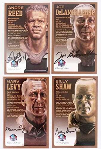 Buffalo Bills Pro Football Hall of Fame Set of 4 Signed Bronze Bust Set Autographed Cards (Limited Edition Only 150 Produced) Joe DELAMIELLEURE, MARV LEVY, Andre Reed, Billy Shaw