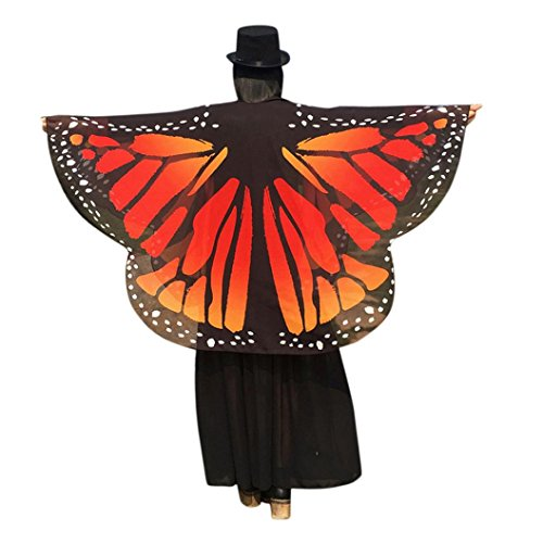 [Doinshop Women Butterfly Wings Shawl Loose Kimono Cardigan Fairy Nymph Pixie Wrap (63 X 55 inches, Orange] (Orange Adult Butterfly Costumes)