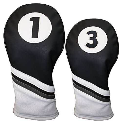 Golf Headcovers Black and White Leather Style 1 & 3 Driver and Fairway Head Cover Fits 460cc Drivers