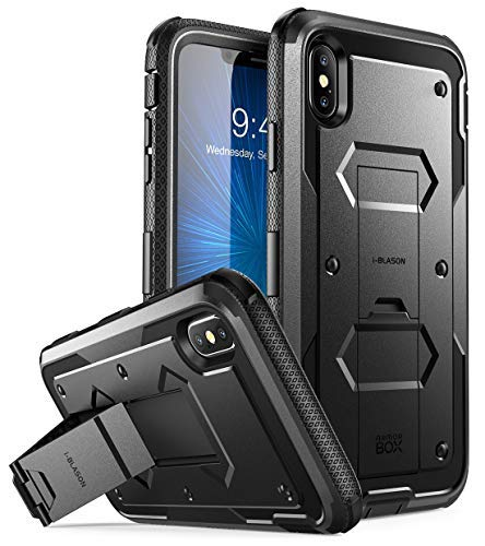 i-Blason Case for iPhone Xs Max 2018 Release, [Built in Screen Protector][Armorbox] Full Body Heavy Duty Protection Kickstand Shock Reduction Case (Black), 6.5'' by i-Blason
