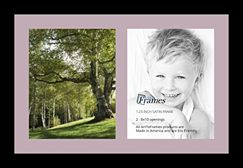 ArtToFrames Collage Photo Frame Single Mat with 2-8x10 Openings with Satin Black Frame and Lavender Mist mat.