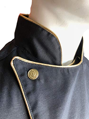 CHEFSKIN Deluxe Chef Jacket Coat Black with Gold Piping, Soft Twill Fabric, Great Gift