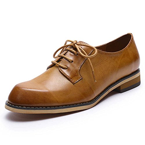 Mona flying Womens Leather Lace-up Dress Oxfords Derby Shoes for Womens Ladies - Oxfords Shoes Womens Brown