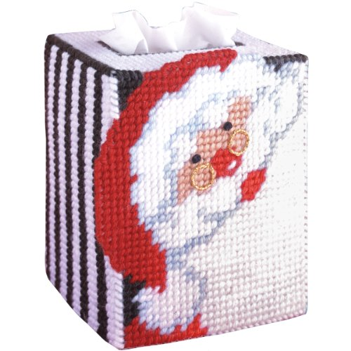 Tobin 1488 Santa Tissue Box Plastic Canvas Kit by Tobin