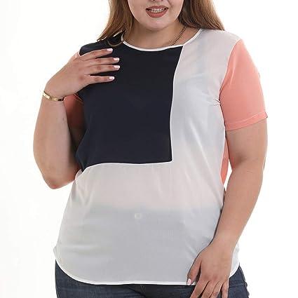 124e10ba4f Amazon.com: Women Plus Size Chiffon T-Shirt, Lady Fashion Crew Neck ...