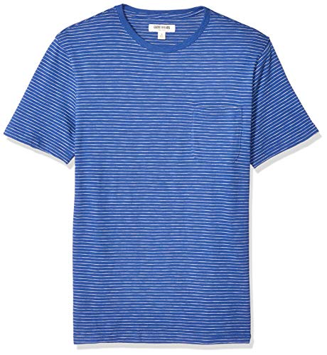 Goodthreads Men's Short-Sleeve Striped Slub Crewneck Pocket T-Shirt, Bright Blue, Medium ()