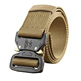 E-Clover Cool Mens Military Tactical Nylon Canvas Belt with Quick Release Buckle (Coyote Brown)