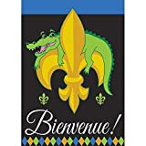 Bienvenue Alligator Fleur de Lis on Black 42 x 29 Rectangular Double Applique Large House Flag