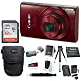 Canon PowerShot ELPH 190 IS 20 MP Digital Camera (Red) w/ 32GB Accessory Bundle