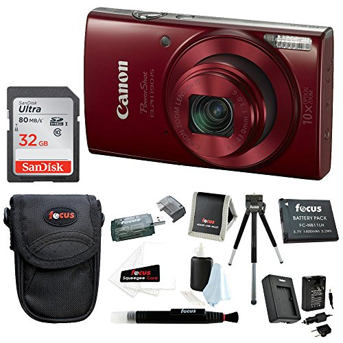 Canon PowerShot ELPH 190 IS 20 MP Digital Camera Red w 32GB