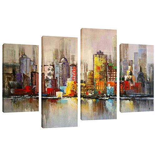 Abstract Canvas Painting New York Colorful City Landscape Picture Printed on Canvas Giclee Artwork Stretched and Framed Wall Art For Home Decor Ready to Hang (Colorful City) by Amosiwallart