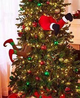 stuck in the tree decor santa - Elf Legs Christmas Decoration