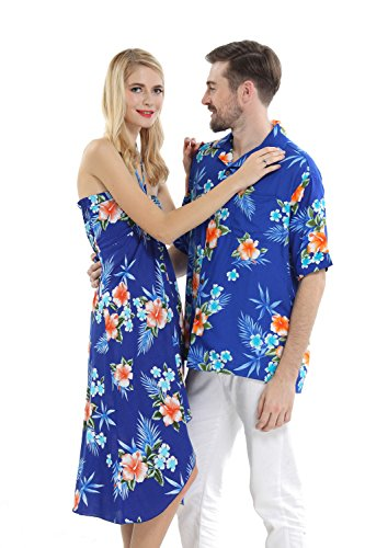 Couple Matching Hawaiian Luau Cruise Party Outfit Shirt Dress in Hibiscus Blue Men M Women M (Hawaiian Party Dress)