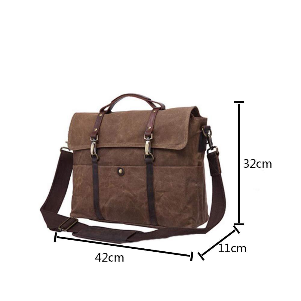 YZ-Hb Mens Shoulder Bag Vintage Office Briefcase College Oil Wax Canvas Large Capacity Messenger Handbag Coffee