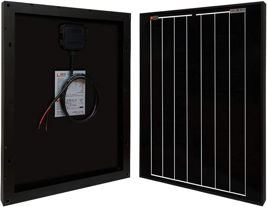 Richsolar Black 20 Watt 12 Volt Off Grid Portable Monocrystalline Solar Panel for RV Marine Boat 20W