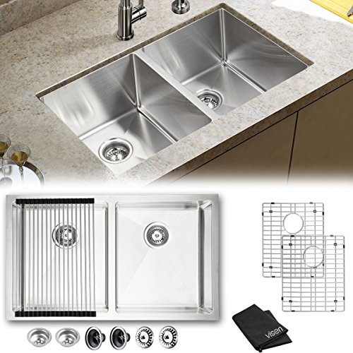 Stainless Steel Double Kitchen Sink - Visen 32in 16gauge double bowl kitchen sink undermount with X Font Design Fast Diversion, Easy to Clean and Not Tarnish, Noise Reduction, Durable Kitchen Part (Sink Double Bowl)