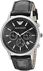 Emporio Armani Men's AR2447 Classic Stainless Steel Watch with Black Leather Band