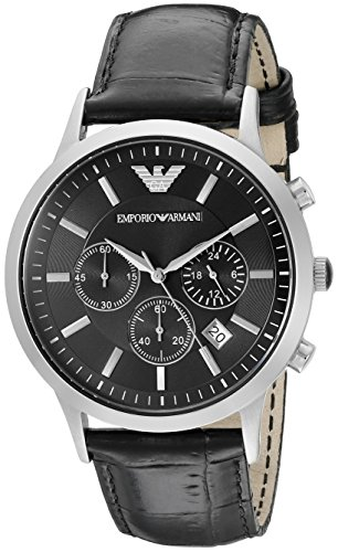Emporio Armani Men's AR2447 Dress Black Leather Watch (Armani Leather Men Watch)