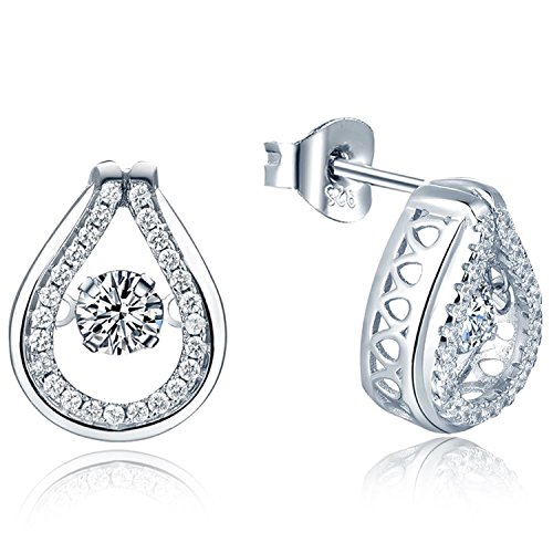 YL Teardrop Stud Earrings Sterling Silver Dancing Diamond Halo Earring 1.42ct Cubic Zirconia Jewelry