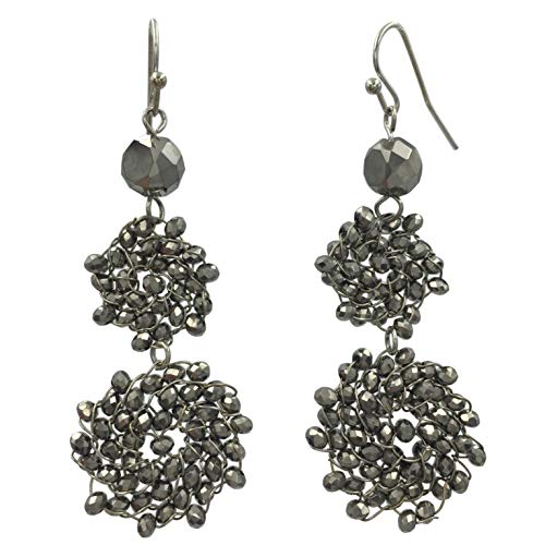 (Abstract Glass Bead Wire Cluster Handmade Swing Dangle Boutique Style Earrings (Hematite Grey Double Round))