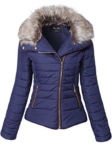 Luna Flower Women's Winter Fur Collar Stripe Quilted Faux Padding Jackets, Dark Navy, Size Medium