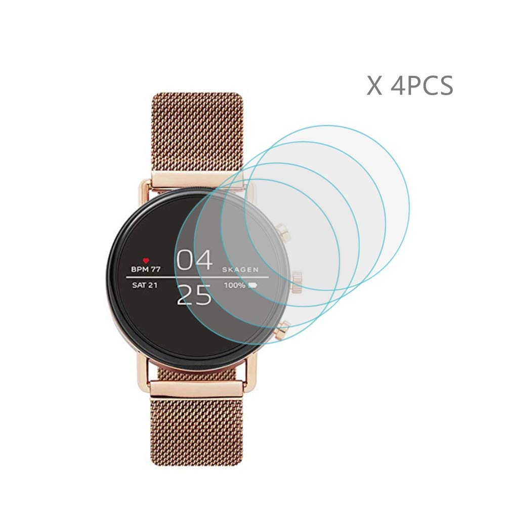 11c7f206e (4 PCS) HLH for Skagen Falster 2 Screen Protector ,9H Hardness Anti-Scratch  Tempered Glass Screen Protector for Skagen Falster 2 for (SKT5100 SKT5102  ...