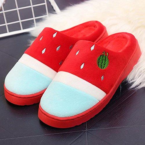 Fankou il creative paio di pantofole di cotone uomini pacchetto con l'inverno piscina home dormire scarpe Jane ha un antiscivolo tendenza moda ,41-42, rosso