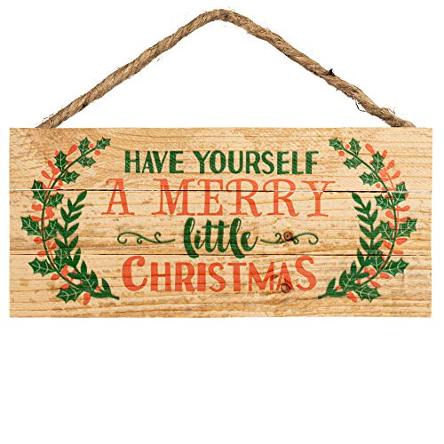 P Graham Dunn Have Yourself a Merry Little Christmas Holly 5 x 10 Wood Plank Design Hanging Sign