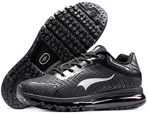 ONEMIX Zapatos de Running para Hombre Deportes y Aire Libre Negro/Plateado