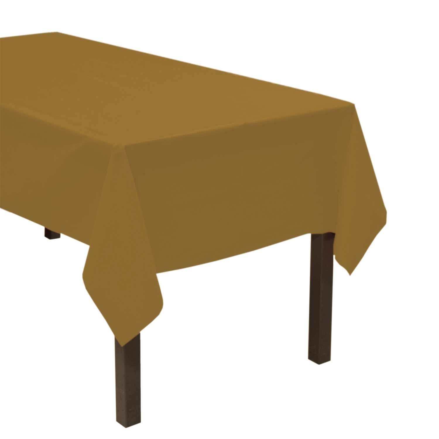 Party Essentials ValuMost Plastic Table Cover Available in 36 Colors, 54'' x 108'', Metallic Gold