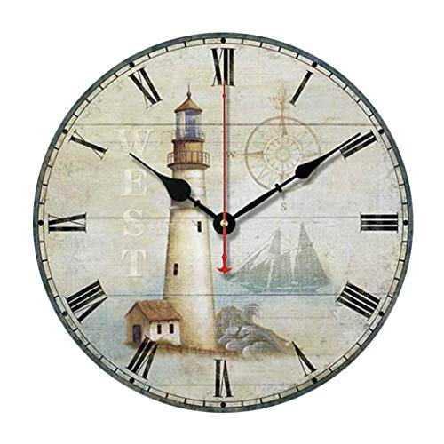 - Clock Roman Numeral Wall Clock - Vintage Wall Clock Round Lighthouse Pattern Silent Decorative Wall Clock Suitable for Living Room Bedroom Restaurant +