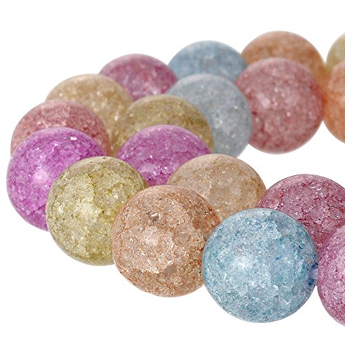 RUBYCA Round Crackle Druk Czech Crystal Glass Beads for Jewelry Making 10mm Strand (Mix Colors) - Frosted Murano Crystal