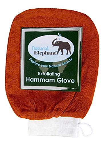 Natural Elephant Exfoliating Hammam Glove, Face & Body Exfoliator Mitt, Burnt Orange