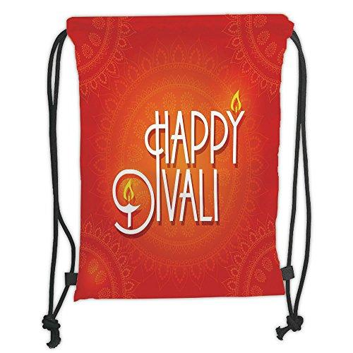 Custom Printed Drawstring Sack Backpacks Bags,Diwali Decor,Happy Diwali Wish Festive Celebration Candles Fires Paisley Backdrop Print,Red and White Soft Satin,5 Liter Capacity,Adjustable String Closur by iPrint