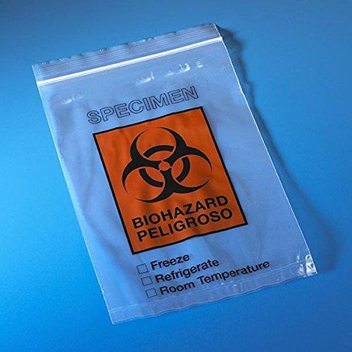 Globe Scientific 4919 Biohazard Bag, 6'' x 9'' Ziplock, DocPouch