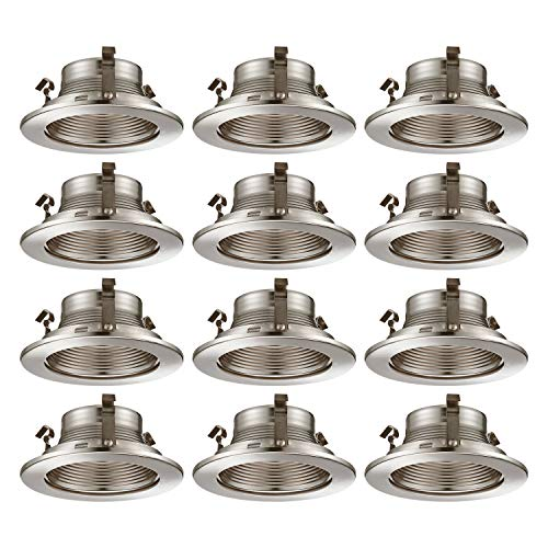 TORCHSTAR 4 Inch Recessed Can Light Trim with Satin Nickel Metal Step Baffle, for 4 inch Recessed Can, Fit Halo/Juno Remodel Recessed Housing, Line Voltage Available, Pack of 12 6 Line Voltage Trim