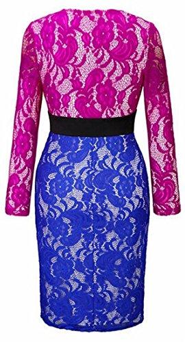V Bodycon Blue Sleeve Long Club Jaycargogo Neck Lace Midi Flare Womens Dress 0xqAw5