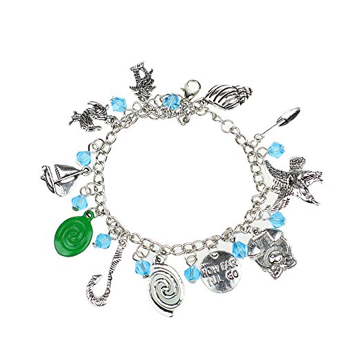 Disney Themed Costumes (Moana Movie Themed Charm Bracelet Disney Princess Cute Cosplay Time Gem Cabochon Bracelet Assorted Metal)